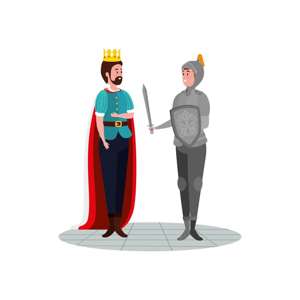 knight with armor and king fairytale vector