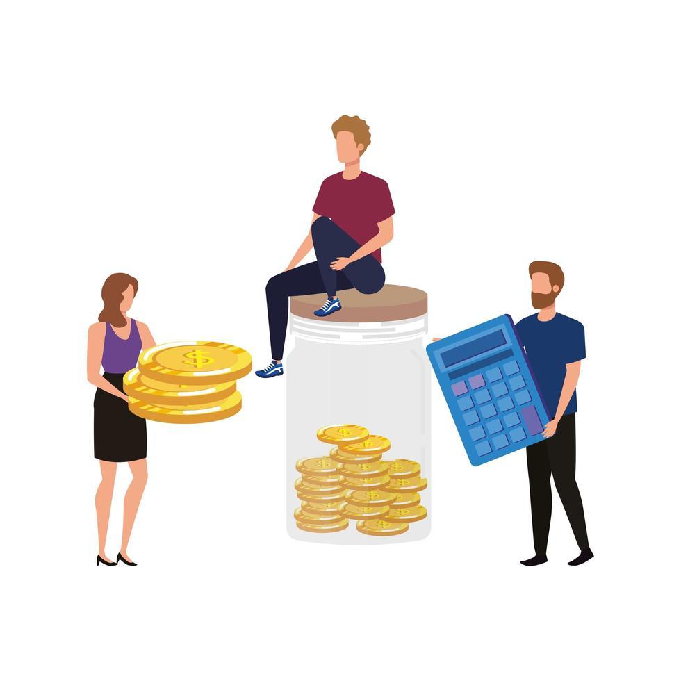 grupo de personas con monedas y calculadora vector