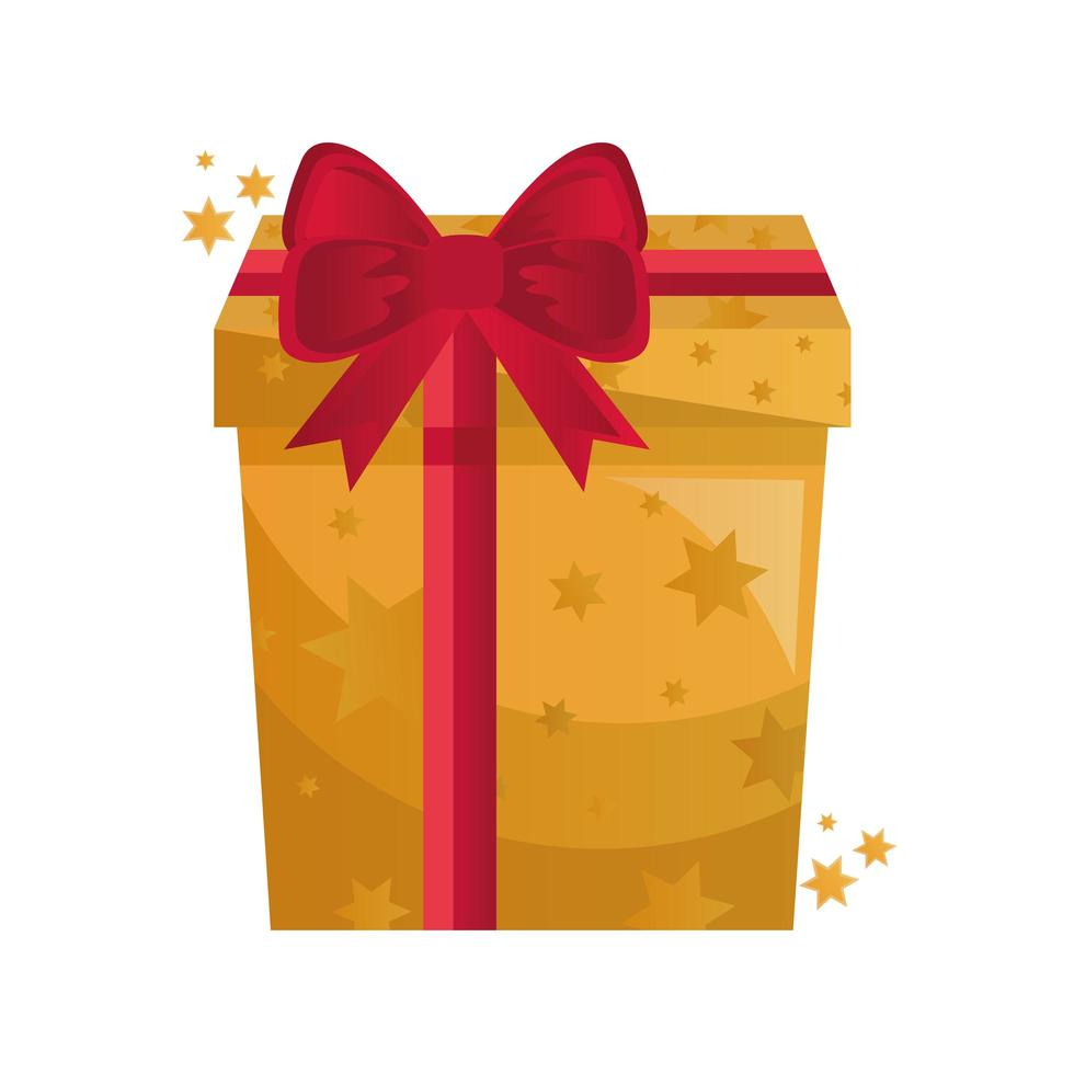 gift box present golden with red bow vector