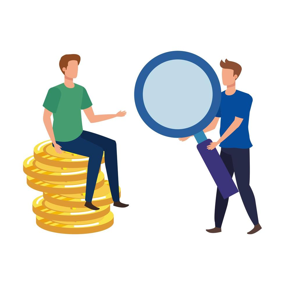 young men with coins dollars characters vector
