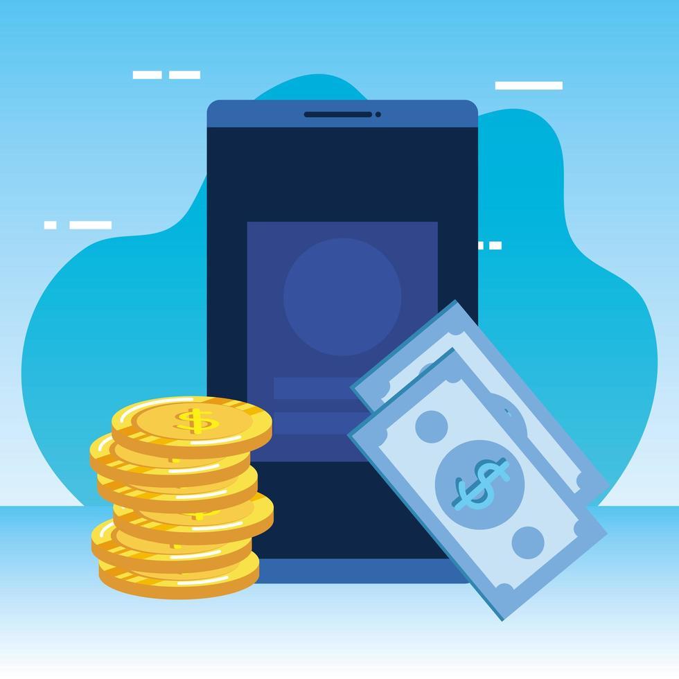 billetes de dinero dólares con monedas y smartphone vector