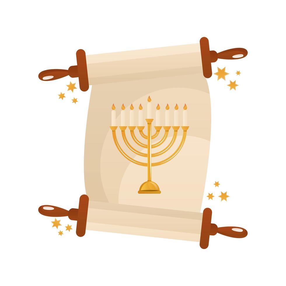 hanukkah patchment with golden chandelier celebration icon vector