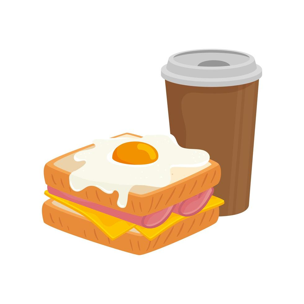 delicious sandwich with egg fried and drink isolated icon vector