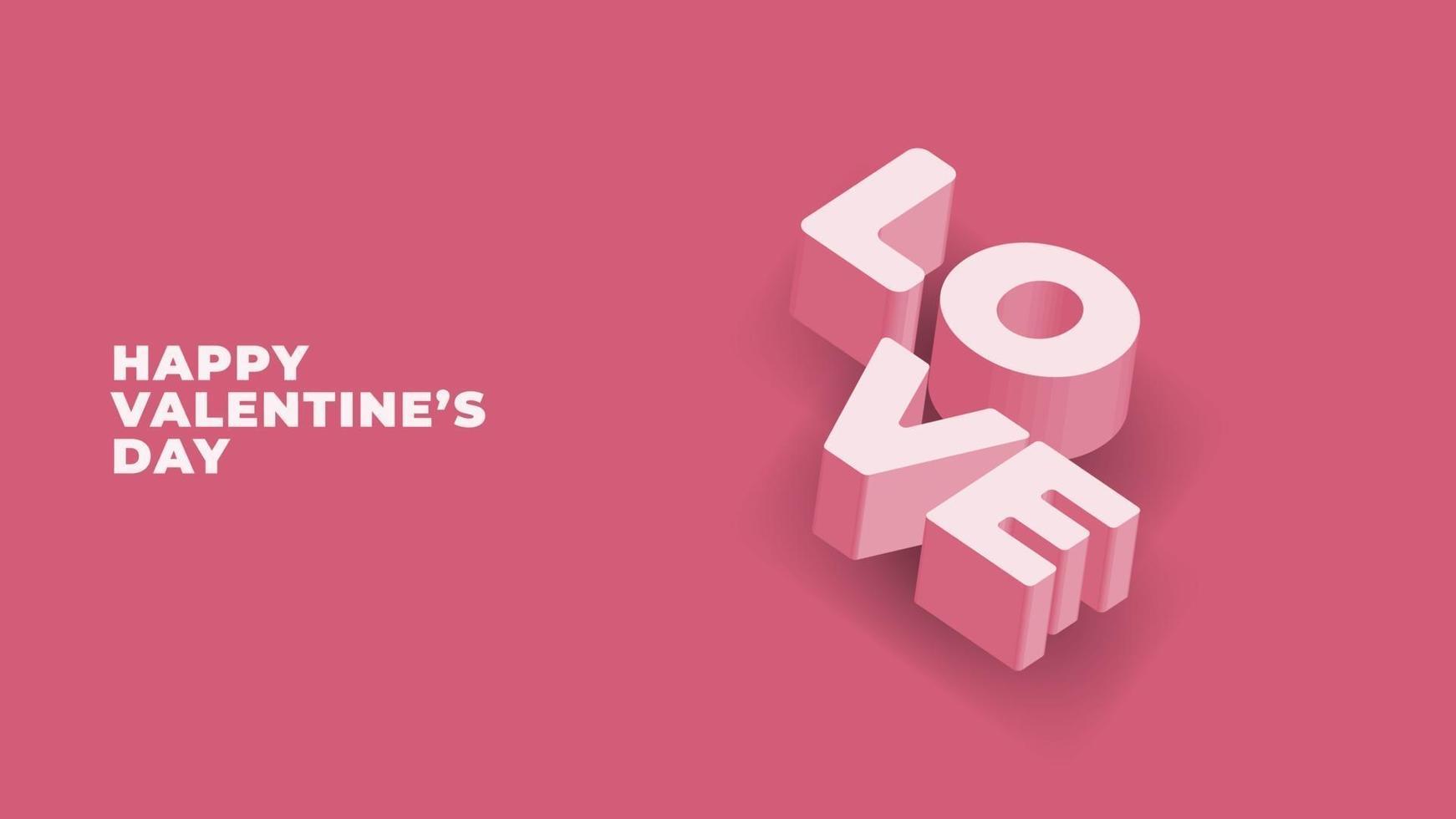 Happy valentines day 3d vector
