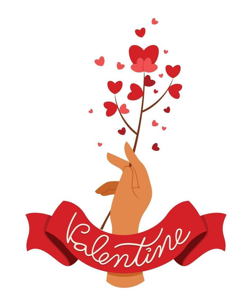 mano sostiene una flor de corazón con cinta con texto de San Valentín. vector
