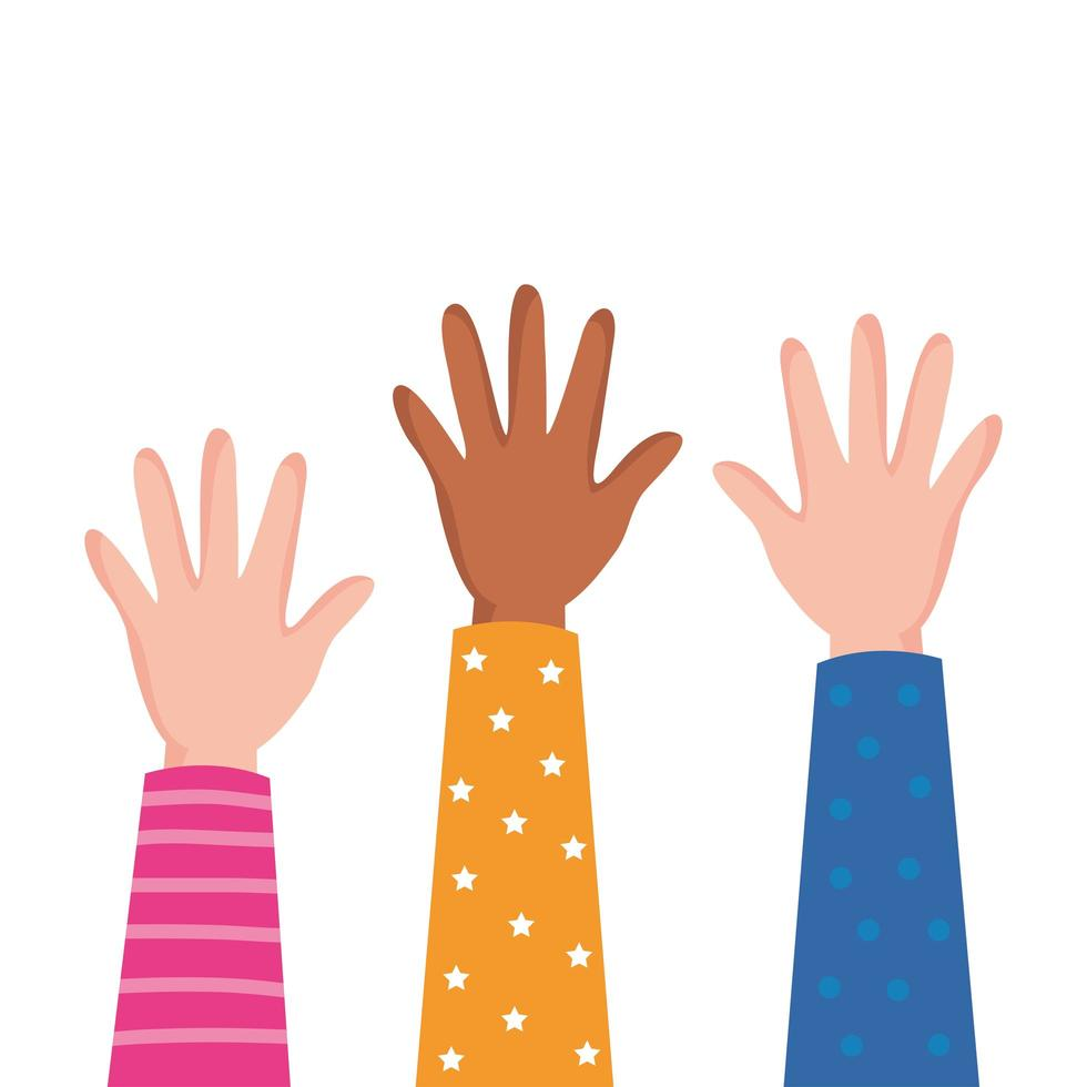 interracial hands up people icon vector