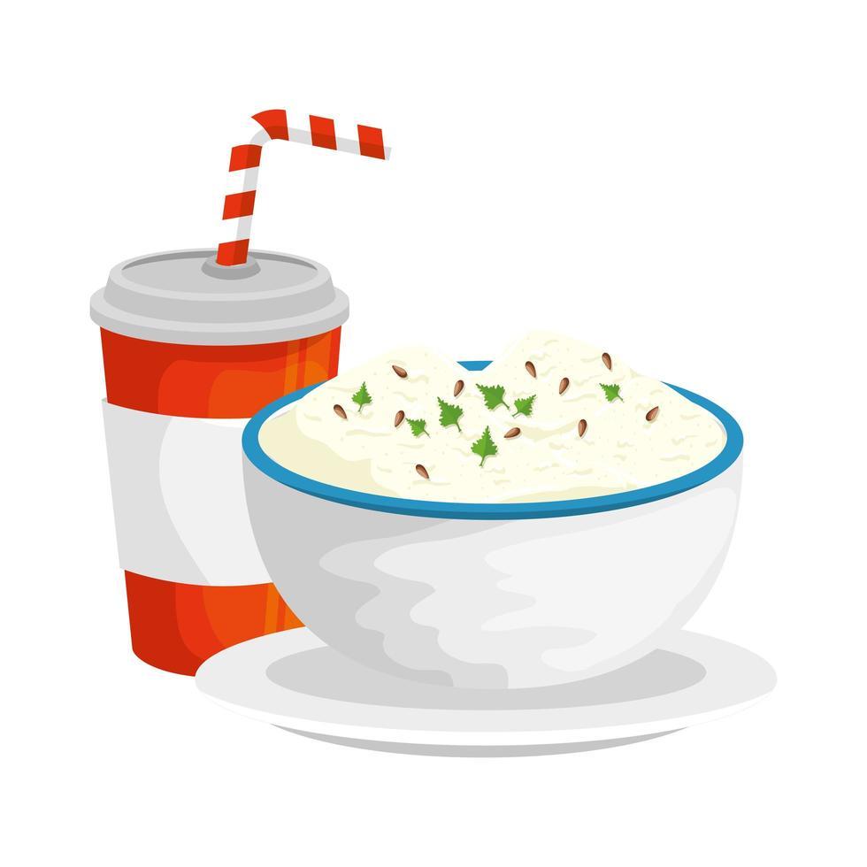delicioso refresco con plato de arroz icono de comida rápida vector