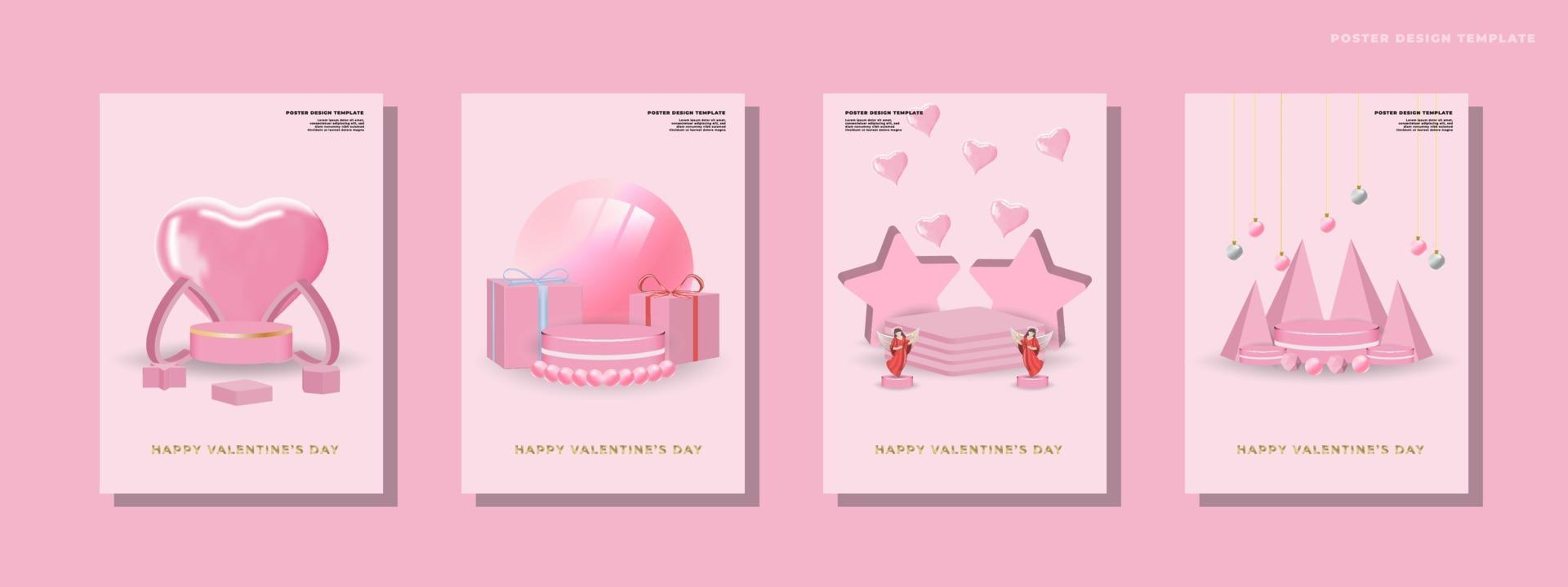 Happy valentines day set background vector