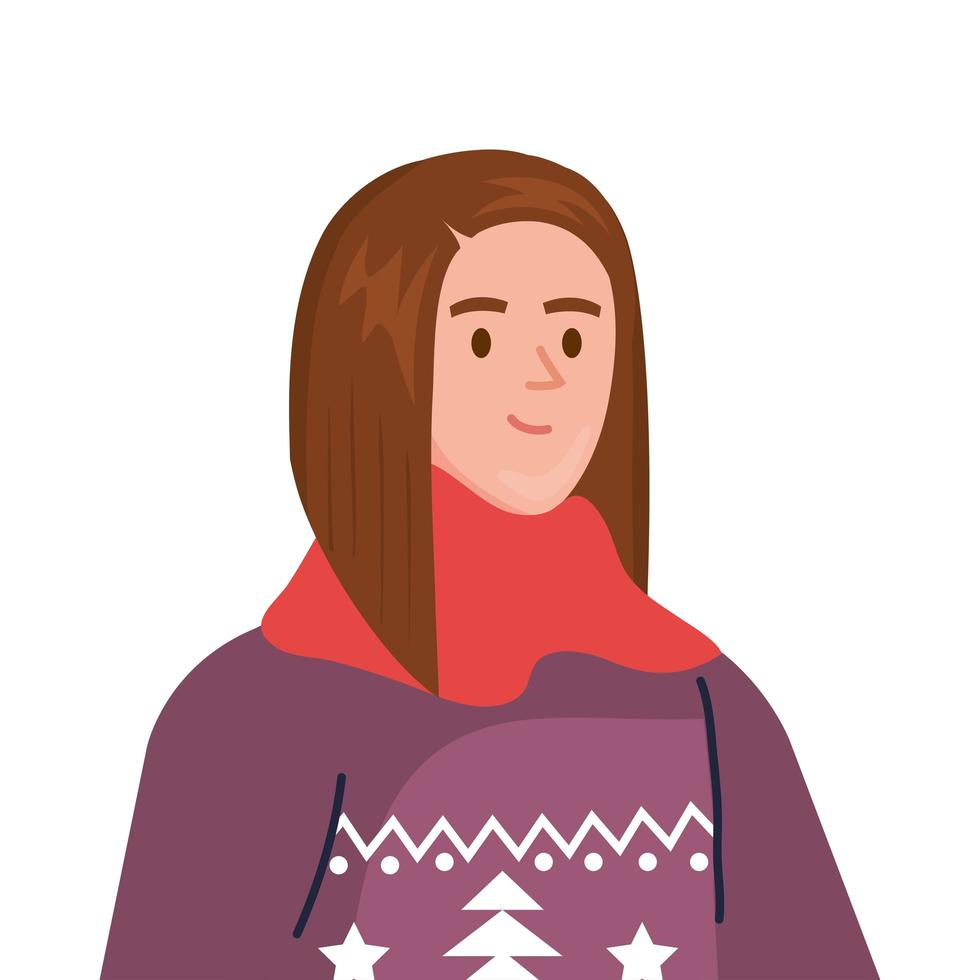 mujer joven con carácter de abrigo y bufanda de invierno vector