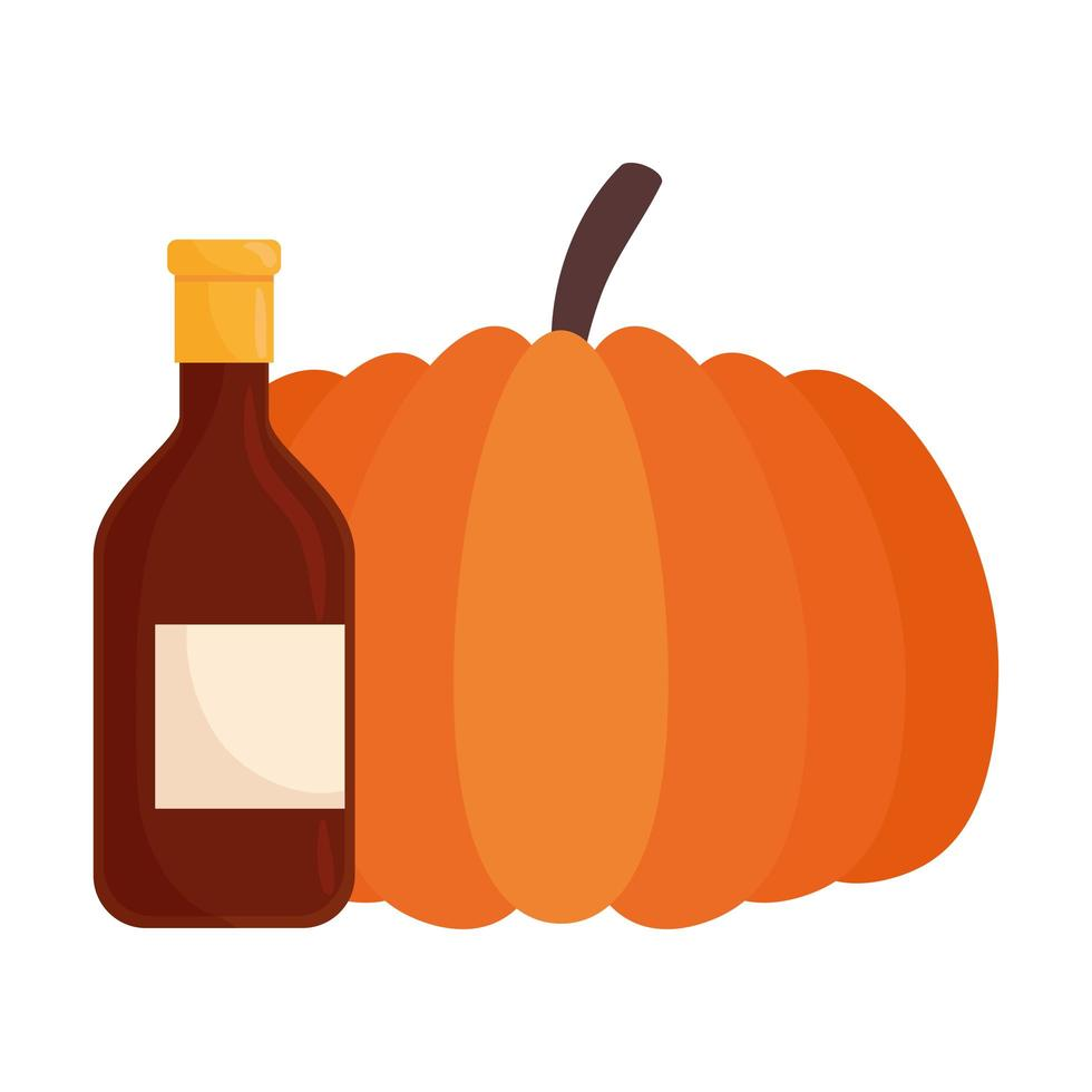 autumn pumpkin fruit with wine bottle vector