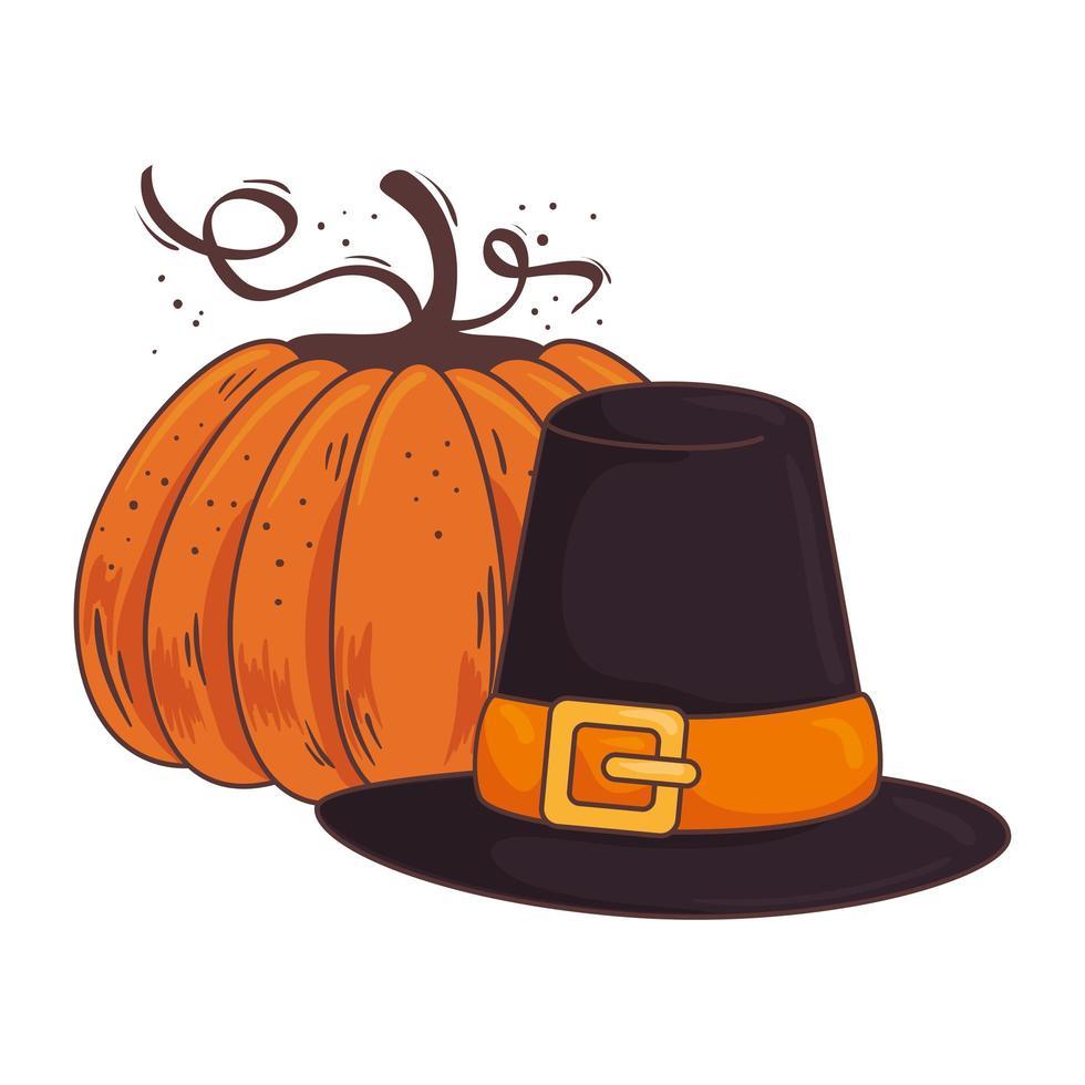 thanksgiving piligrim hat accessory and pumpkin vector