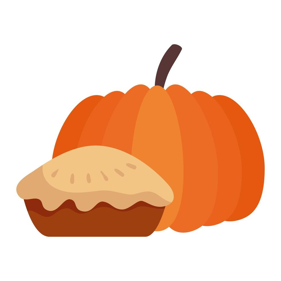 thanksgiving delicious sweet pie with pumpkin vector
