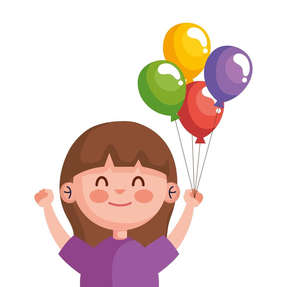 happy cute little girl with balloons helium character vector