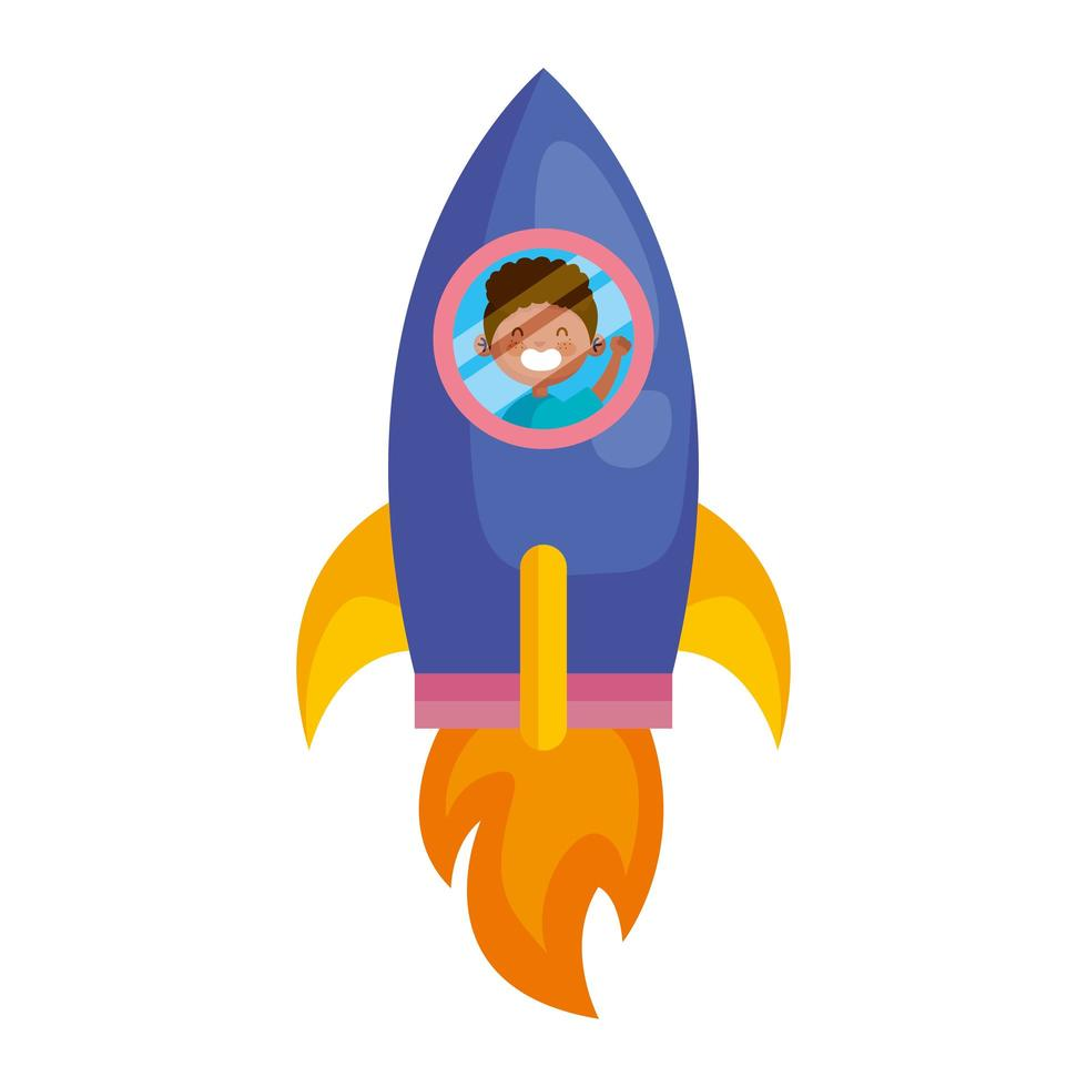 cute afro little boy in rocket avatar character vector