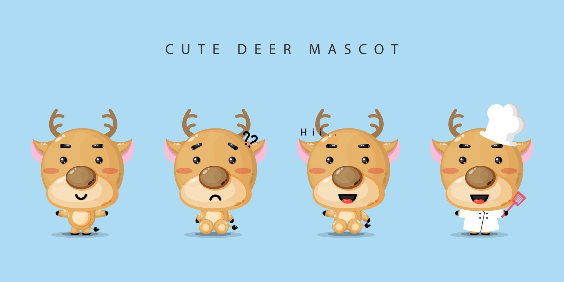 Cute deer mascot design set vector