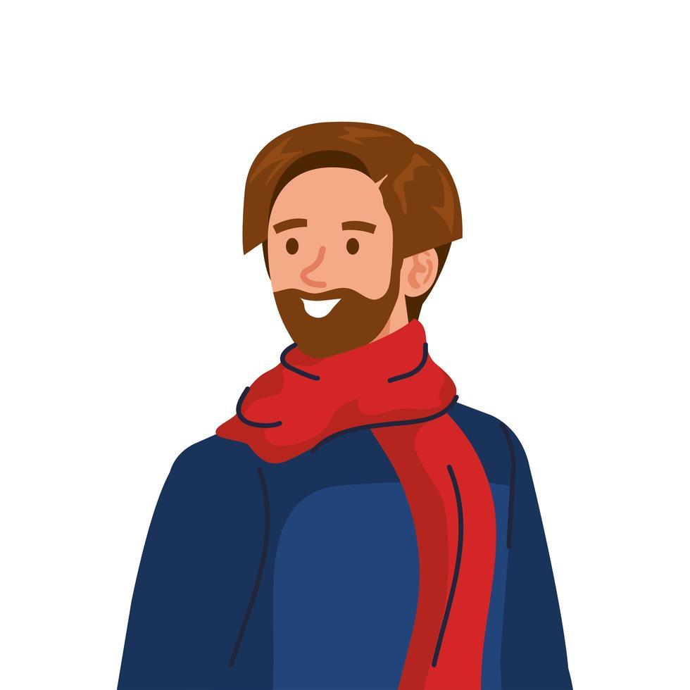 joven barbudo con carácter de abrigo y bufanda de invierno vector