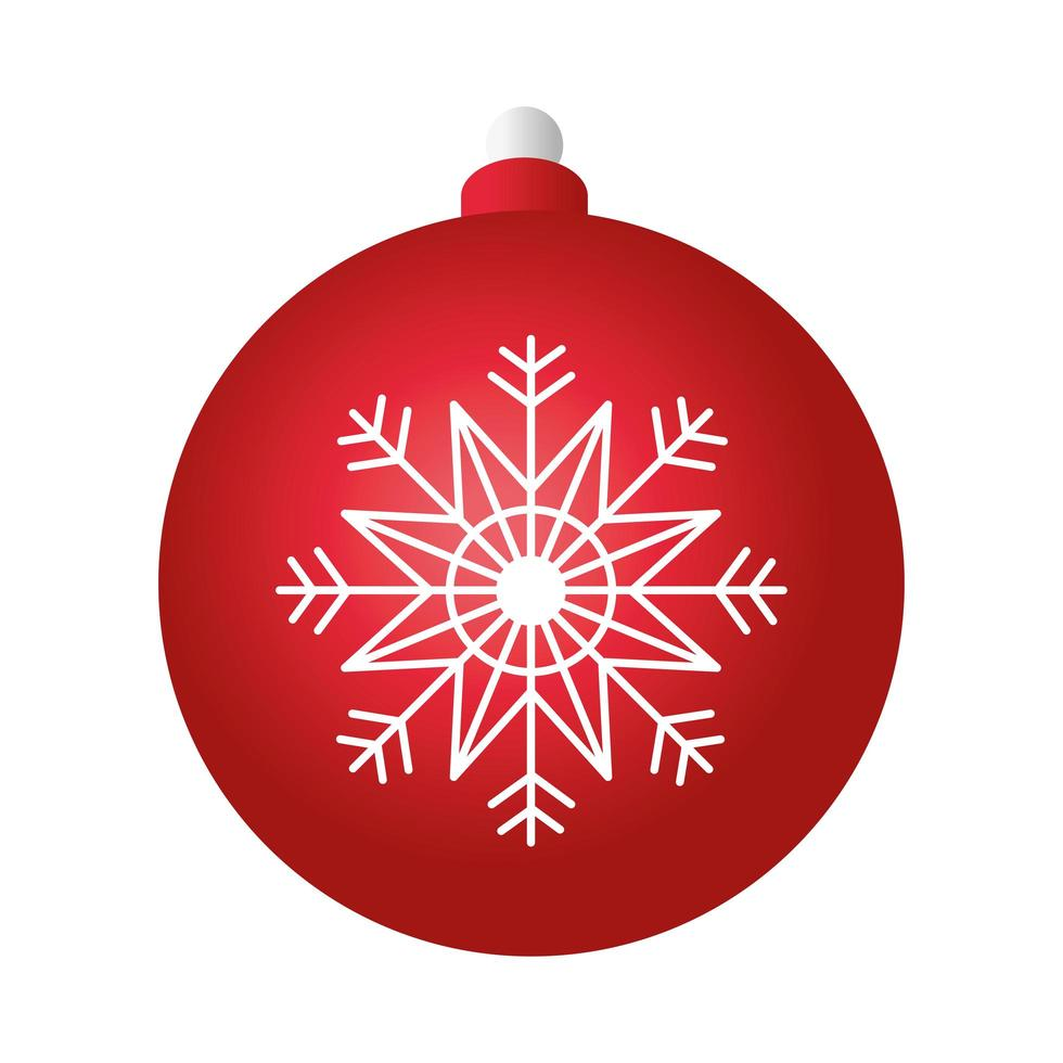 merry christmas red ball decoration with snowflake vector