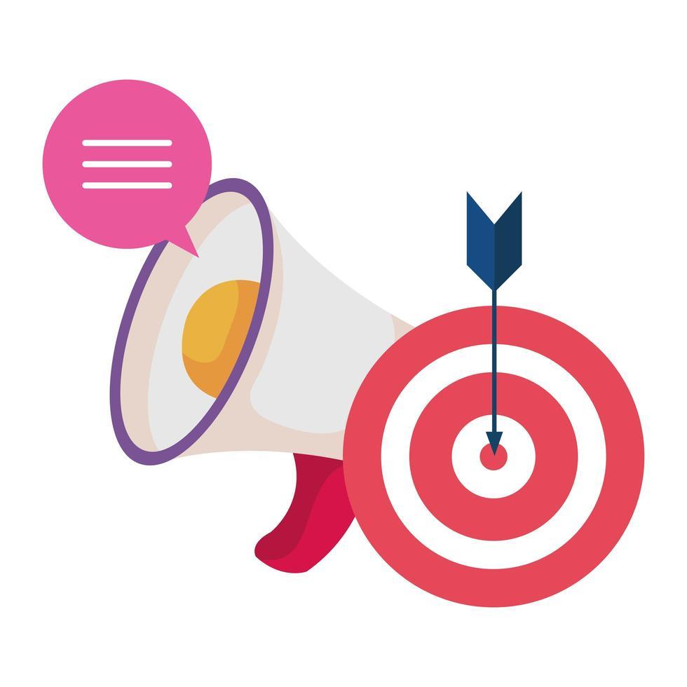 megáfono y objetivo con icono de flecha de éxito vector