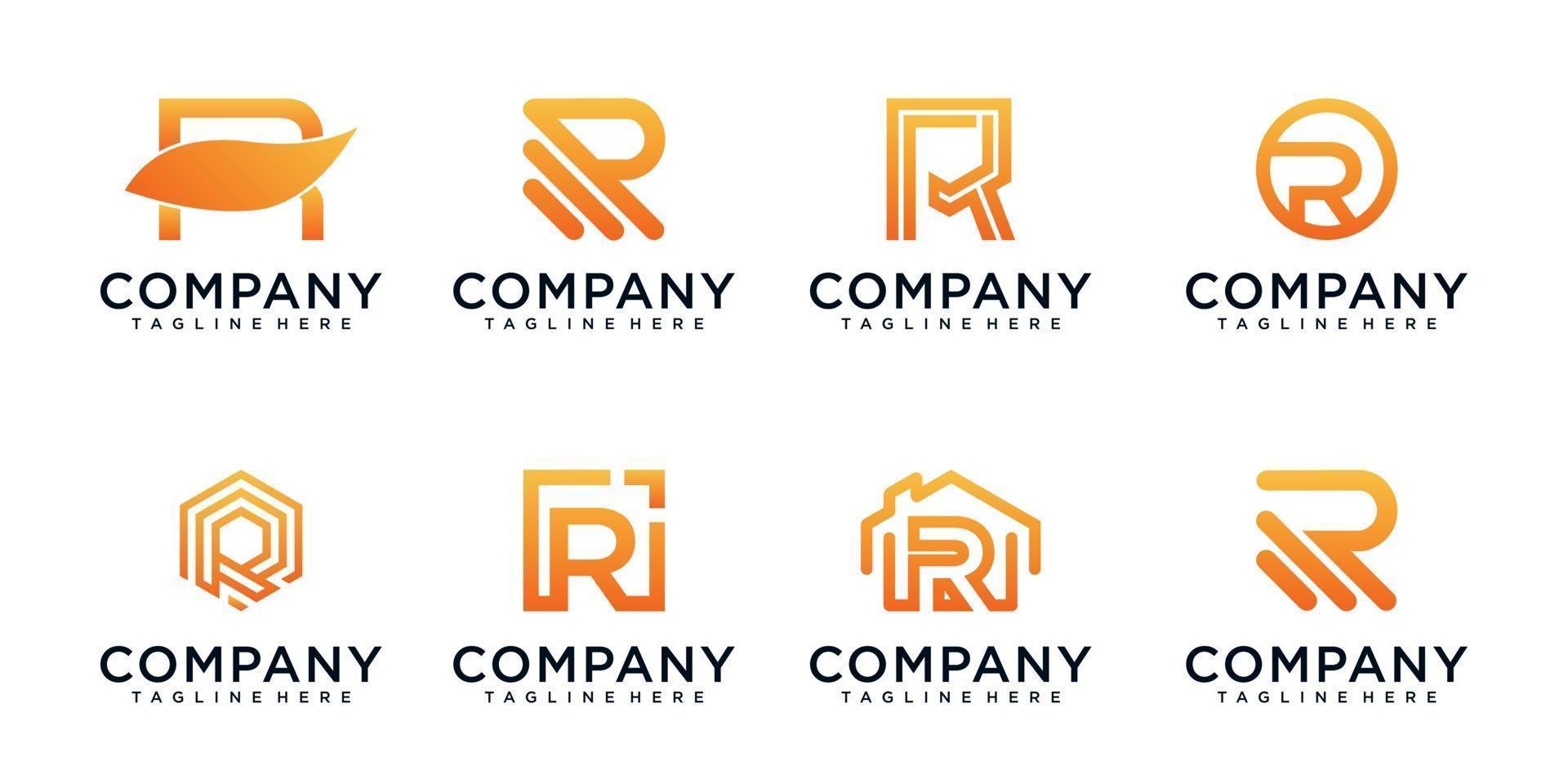 monograma diseño de logotipo letra r conjunto vector