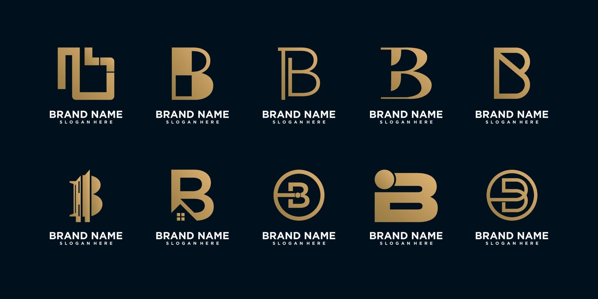 conjunto de plantillas de diseño de logotipo monograma b vector