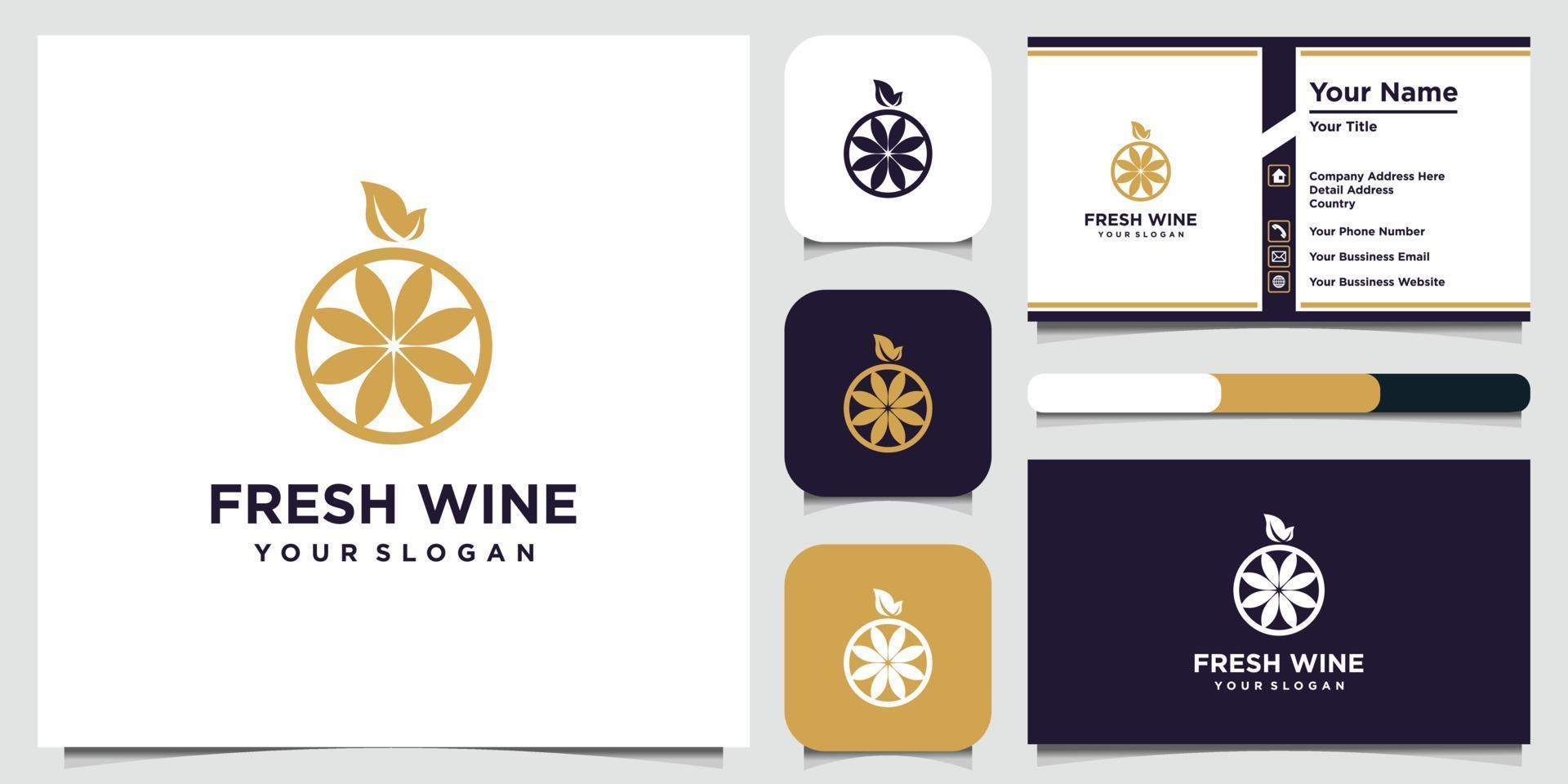 High quality flat style icon illustration of grapes and business card vector