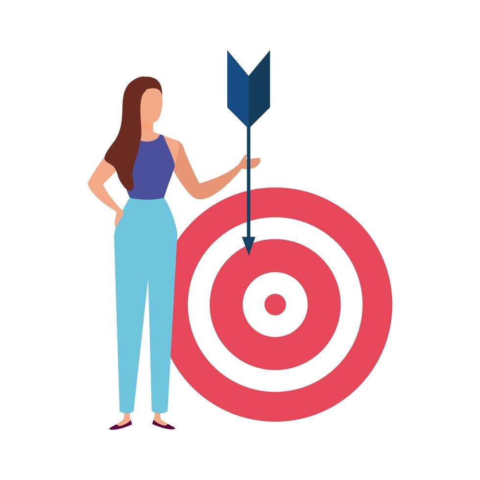 elegant business woman with arrow and target vector