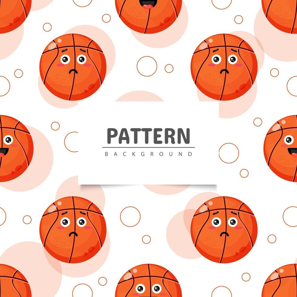 Basketball with emoticon seamless pattern vector