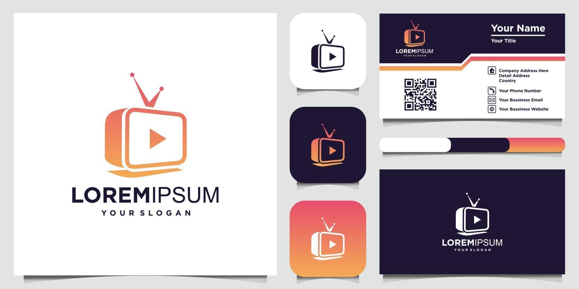 Creative tv concept logo design template and business card vector