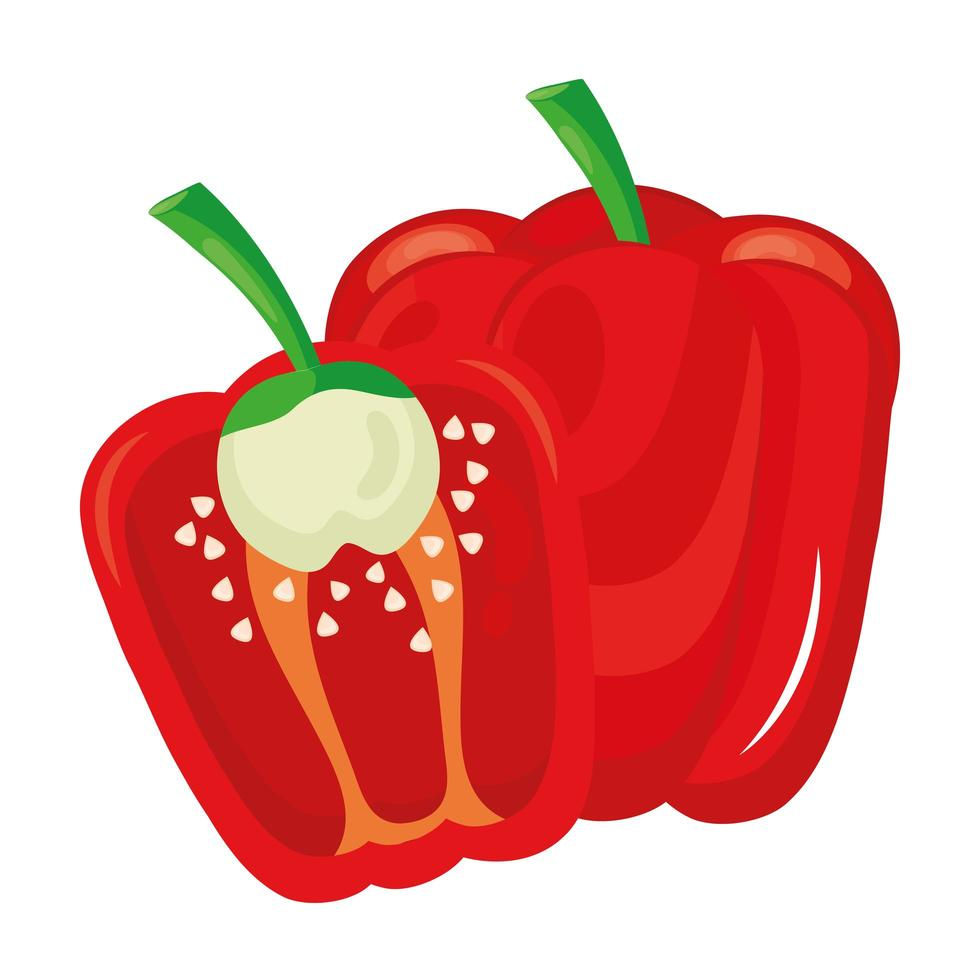fresh pepper vegetable healthy food icon vector