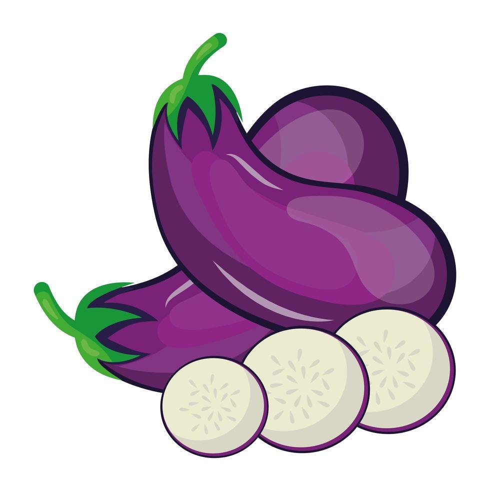 icono de comida sana vegetal berenjena fresca vector