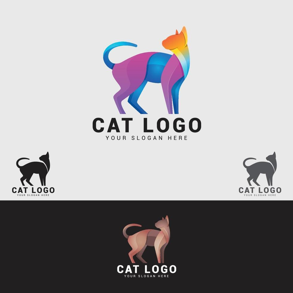 plantilla de diseño de logotipo de gato vector