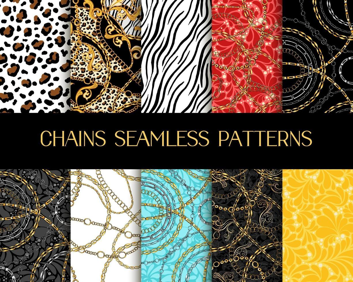 Chains Patterns Collection. Vector Chain Seamless Patterns with Zebra and Tiger Animal Prints