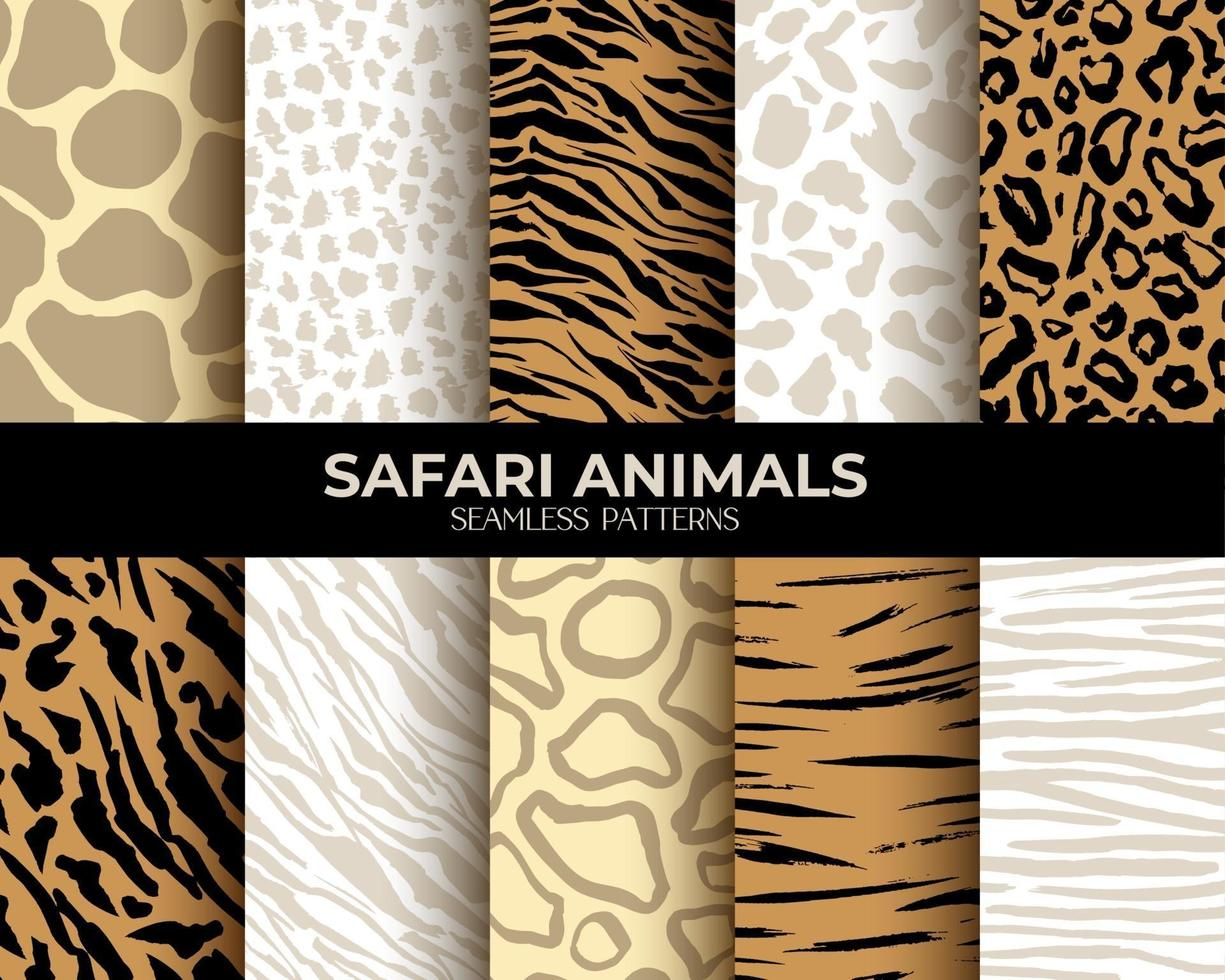 Animal Fur Print Vector Seamless Patterns with Leopard, Tiger, and Zebra