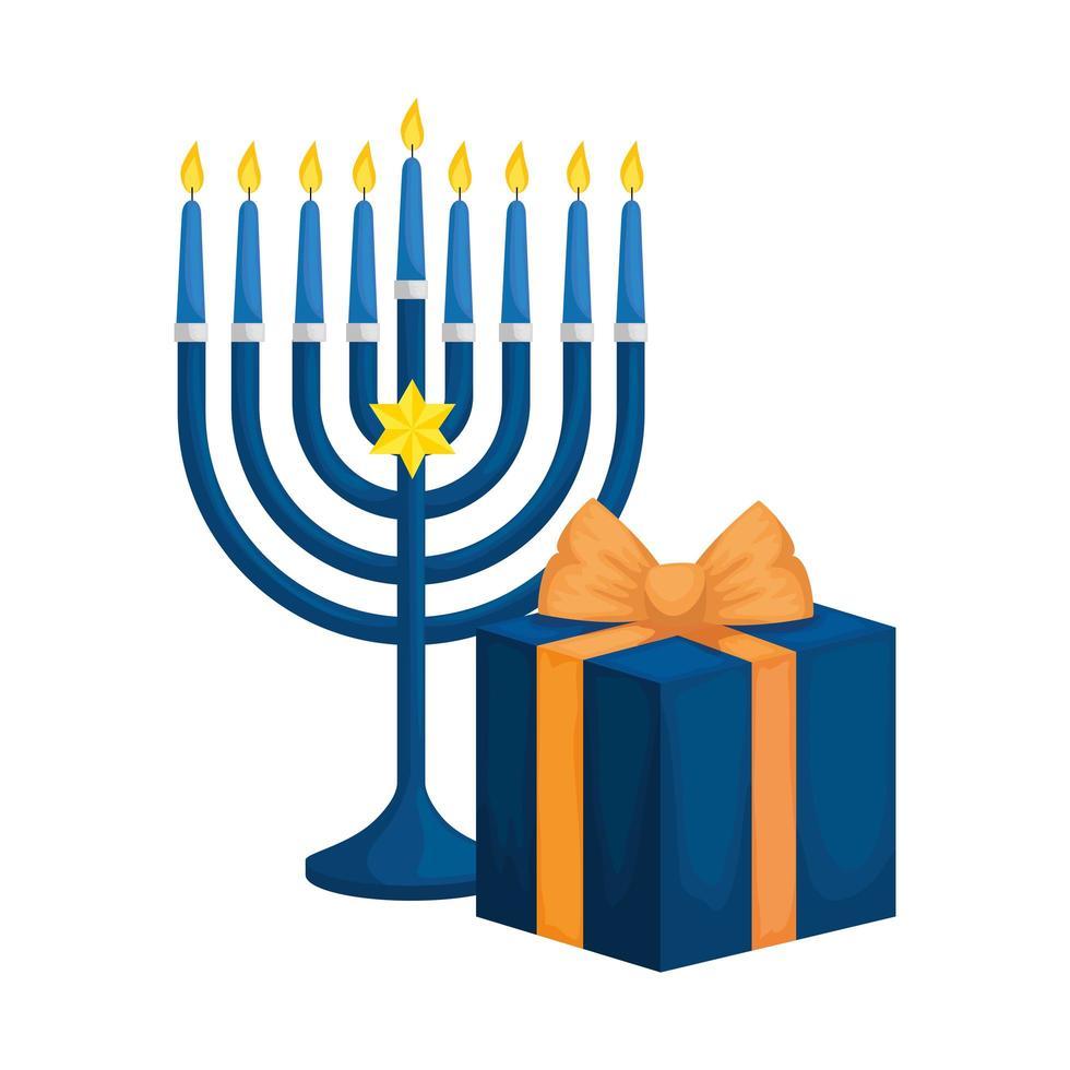 candelabro con velas y caja de regalo vector