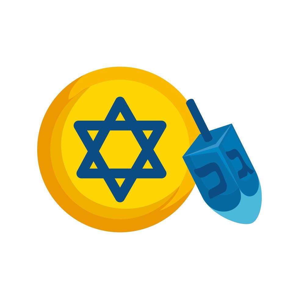 dreidel game with star david isolated icon vector