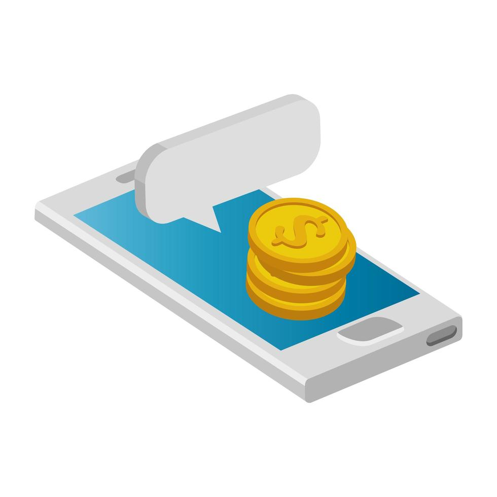 smartphone device with pile coins and speech bubble vector