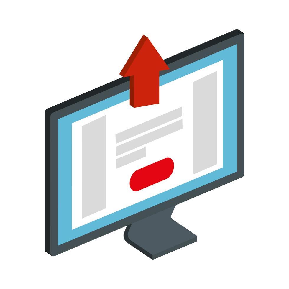 Escritorio de la computadora con flecha hacia arriba icono aislado vector