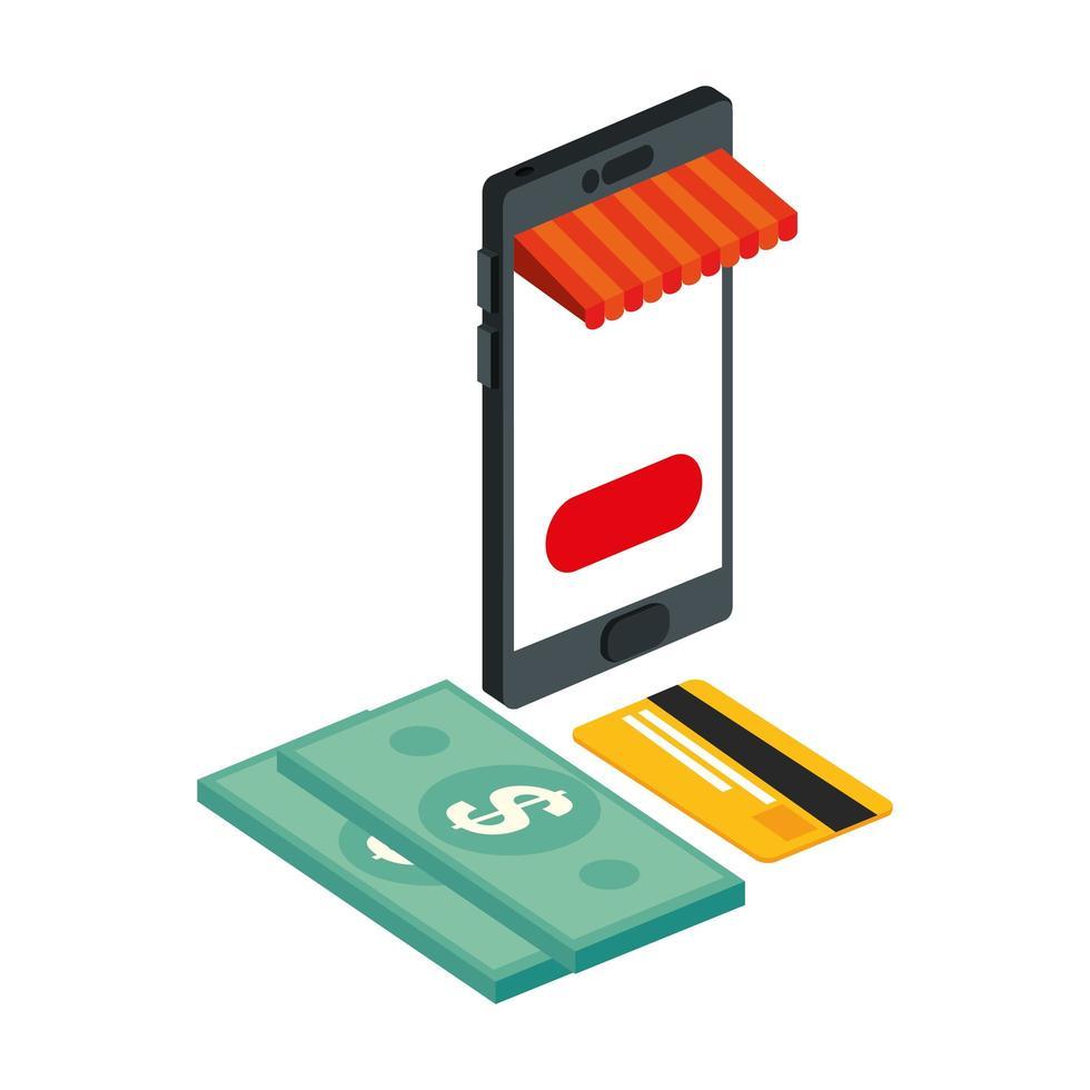 smartphone con tienda de sombrillas e iconos vector