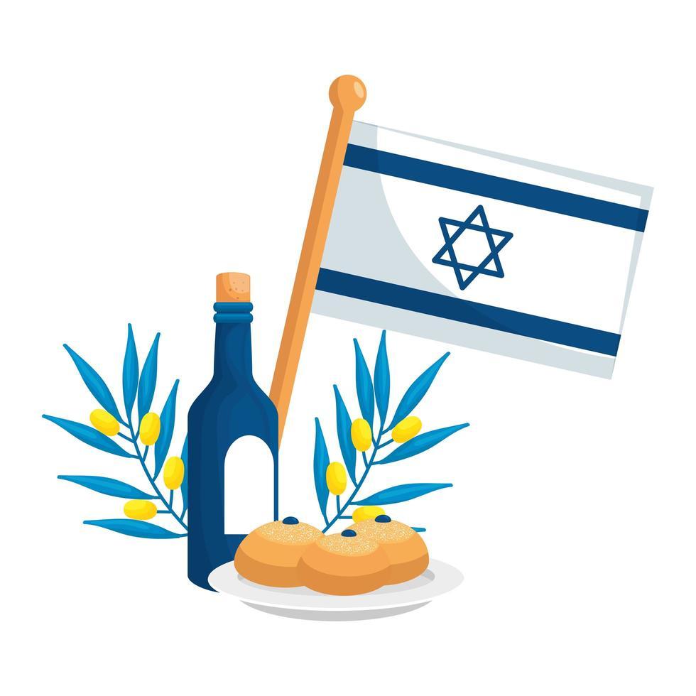 bandera de israel con vino e iconos vector