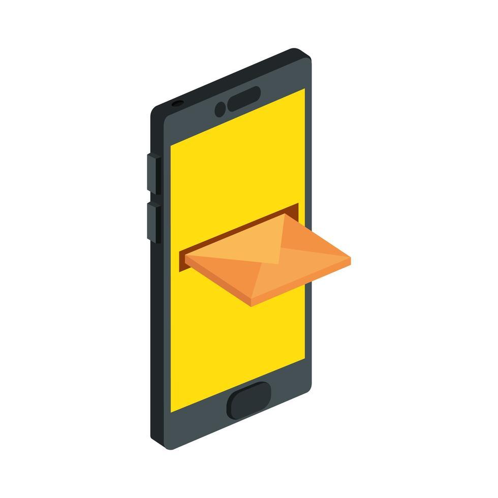 Dispositivo de teléfono inteligente con icono de sobre aislado vector
