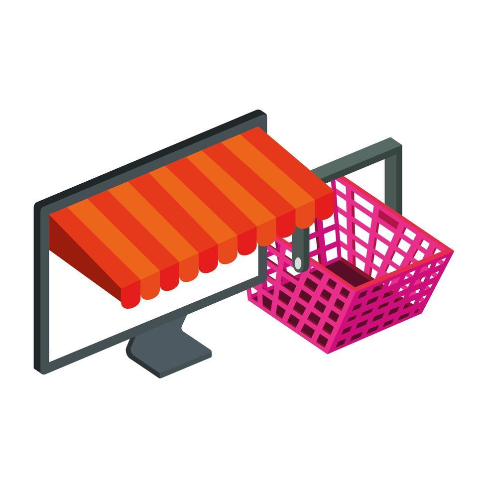 Cesta de compras y computadora con sombrilla. vector
