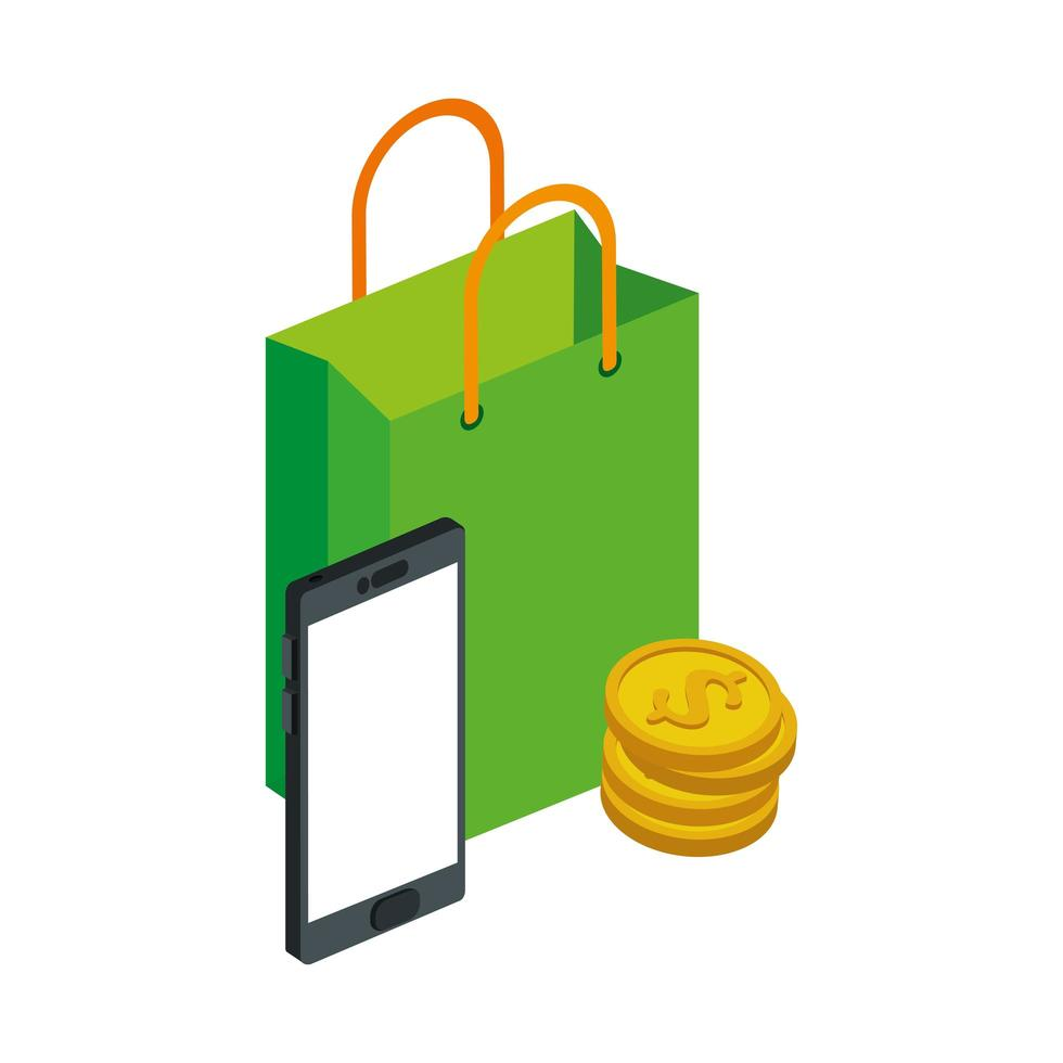 bag shopping with smartphone and pile coins vector