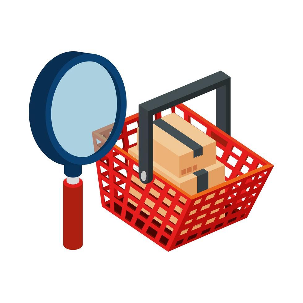 cesta de compras con lupa y paquetes de cajas vector
