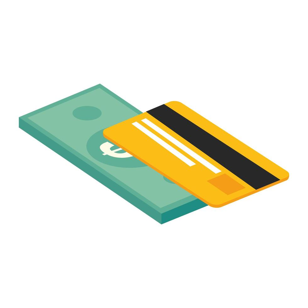 credit card with bill finance isolated icon vector