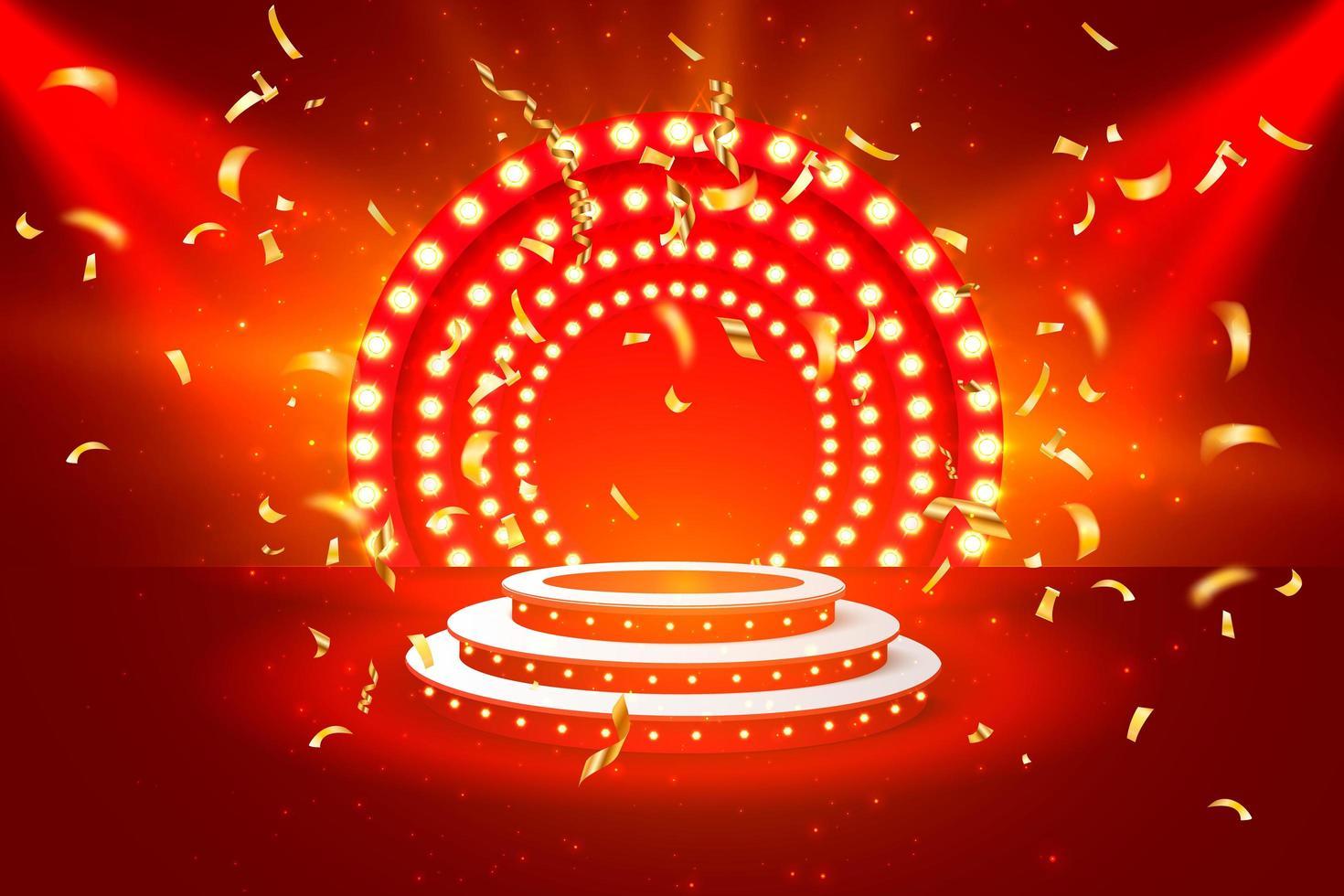 banner de monedas de oro del podio del casino jackpot vector