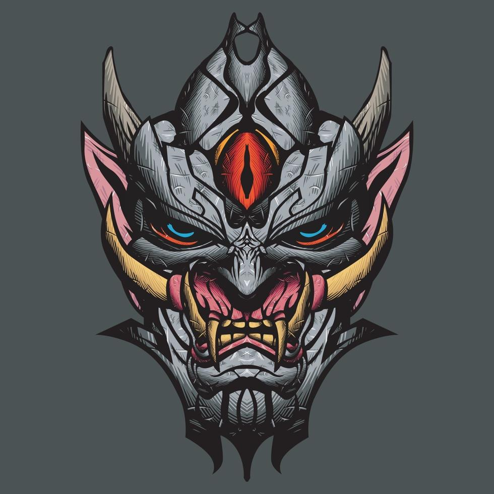 Ilustración de máscara de oni. vector