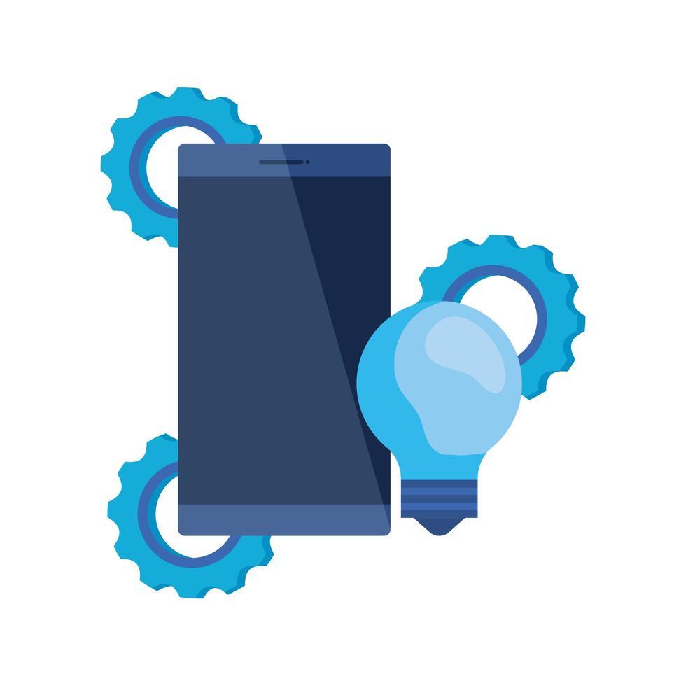 dispositivo de teléfono inteligente con ajustes de engranajes vector