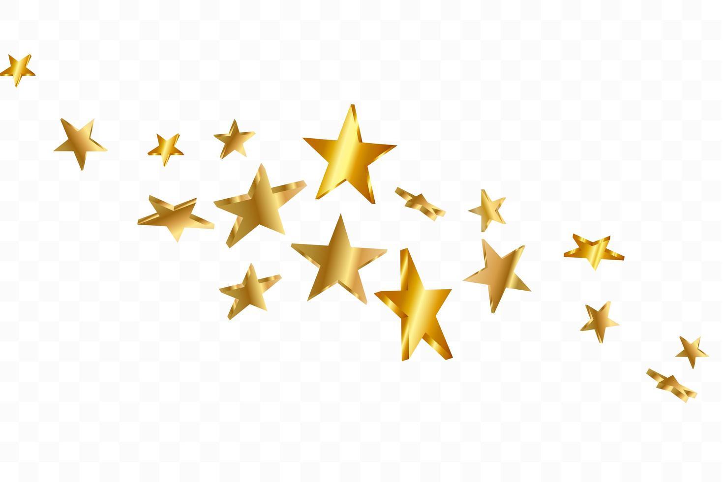 Estrellas 3D cayendo. fondo estrellado amarillo dorado. vector de fondo estrella de confeti.