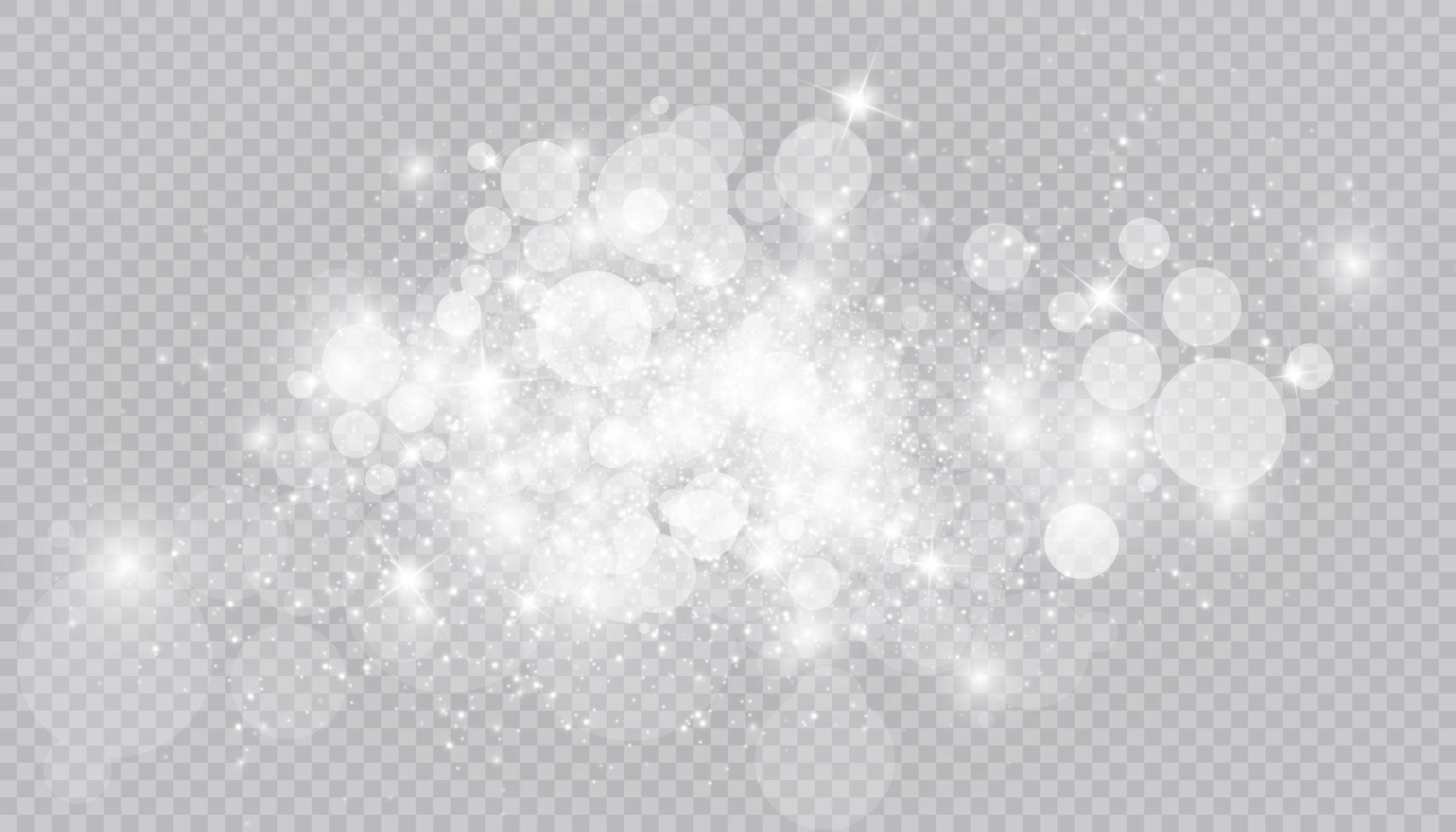 efecto de luz brillante con muchas partículas de brillo aisladas vector