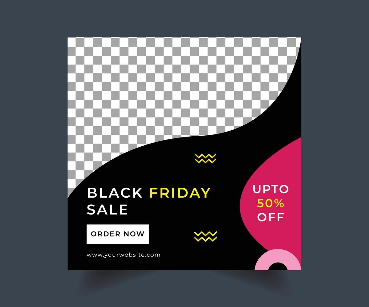 Black friday social media sale post design vector